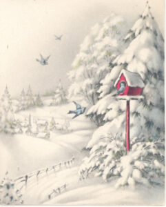 Christmas card showing snow covered landscape with bluebirds and a red birdhouse by snow covered pine trees and a snow covered country road.